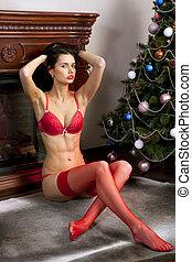 bonito, meias, mulher, vermelho