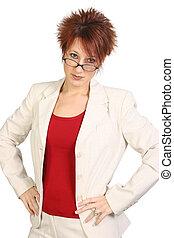 bonito, meio envelheceu, mulher negócio, ou, professor, com,...