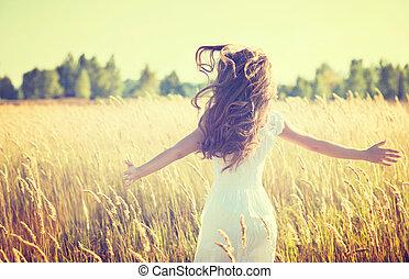 bonito, menina adolescente, ao ar livre, desfrutando,...