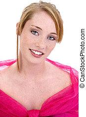 bonito, menina adolescente, cor-de-rosa, formal