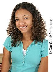 bonito, menina adolescente, sorrindo