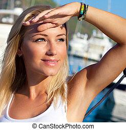 bonito, menina adolescente, velejando