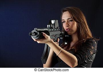 bonito, menina, arma