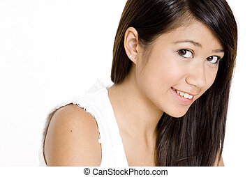bonito, menina asiática