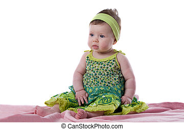 bonito, menina bebê, com, olhos azuis