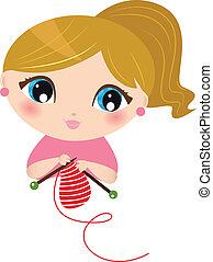 bonito, menina, branca, tricotando, isolado
