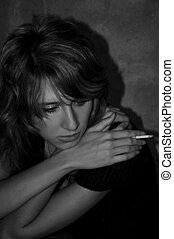 bonito, menina cigarro