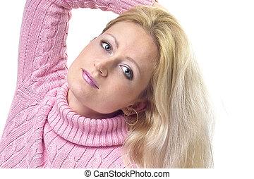 bonito, menina, com, cabelo loiro