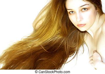 bonito, menina, com, cabelo longo