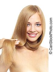 bonito, menina, com, cabelo longo, isolado, branco