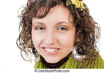 bonito, menina, com, cabelo ondulado, isolado, branco, fundo