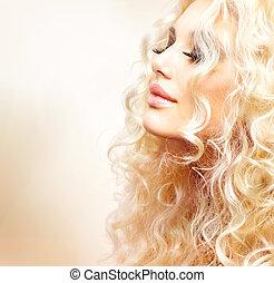 bonito, menina, com, cacheados, cabelo loiro
