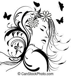 bonito, menina, com, flores cabelo