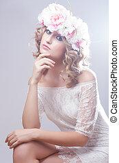bonito, menina, com, flores, em, dela, hair.