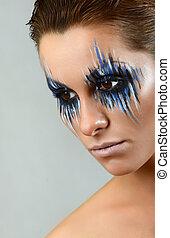 bonito, menina, com, luminoso, criativo, moda, maquilagem, azul, prego