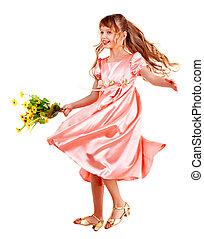 bonito, menina, com, primavera, flower.