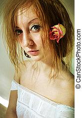 bonito, menina, com, rosa, em, dela, hair.