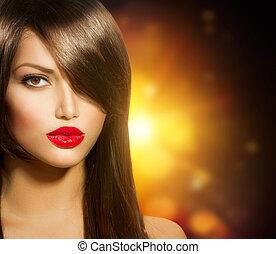 bonito, menina, com, saudável, cabelo marrom longo, e, olhos marrons