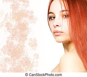 bonito, menina, com, um, cabelo vermelho