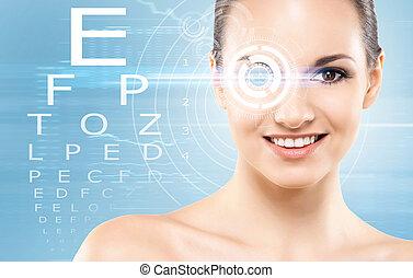 bonito, menina, com, um, cirurgia laser, conceito
