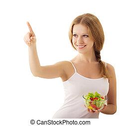 bonito, menina, com, vegan, salada, ligado, um, fundo branco
