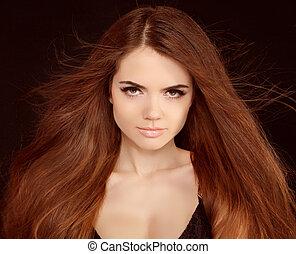 bonito, menina, com, voando, loura, hair., marrom, longo,...