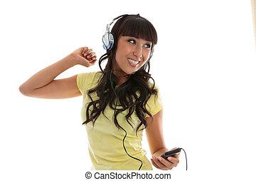 bonito, menina, desfrutando, música