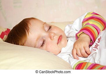 bonito, menina, dorme