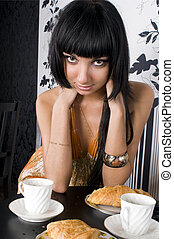 bonito, menina, em, a, café