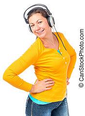 bonito, menina, em, fones, escutar música