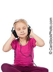 bonito, menina, em, fones, escutar, para, a, música