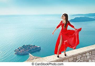 bonito, menina, em, soprando, vestido vermelho, flying., moda, deslumbrante, mod
