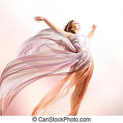 bonito, menina, em, soprando, vestido, voando