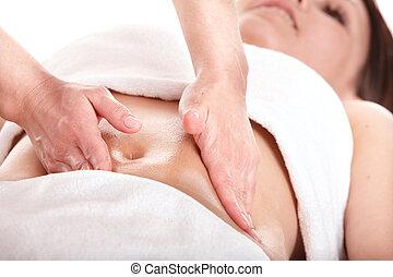 bonito, menina, estômago, tendo, massage.