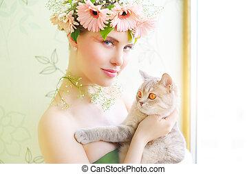 bonito, menina, gato