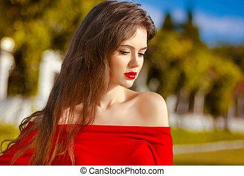 bonito, menina jovem, ao ar livre, portrait., atraente, mulher, com, vermelho