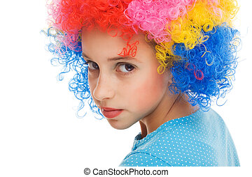 bonito, menina jovem, com, partido, peruca