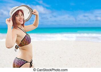 bonito, menina jovem, em, biquíni, praia