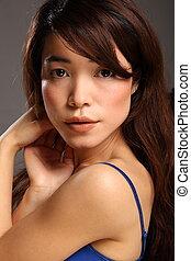bonito, menina, jovem, japoneses