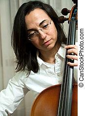 bonito, menina jovem, jogos, a, cello