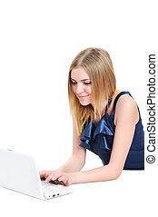 bonito, menina jovem laptop