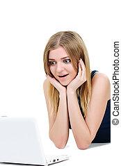 bonito, menina jovem laptop, surpresa