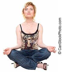 bonito, menina, medita