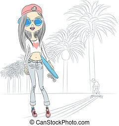 bonito, menina, moda, skateboard, vetorial