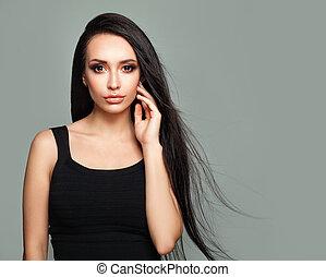 bonito, menina, modelo moda, com, longo, saudável, cabelo, retrato