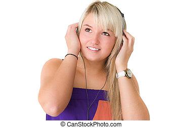 bonito, menina, musik, jovem, escutar