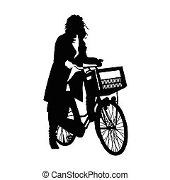 bonito, menina numa bicicleta, vetorial