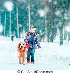 bonito, menina, pequeno, cão, dela