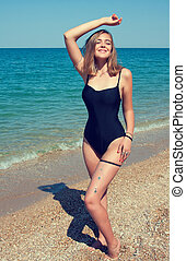 bonito, menina, praia