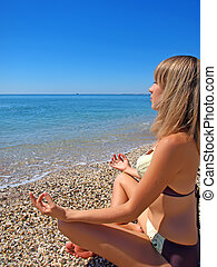 bonito, menina, praia, relaxante